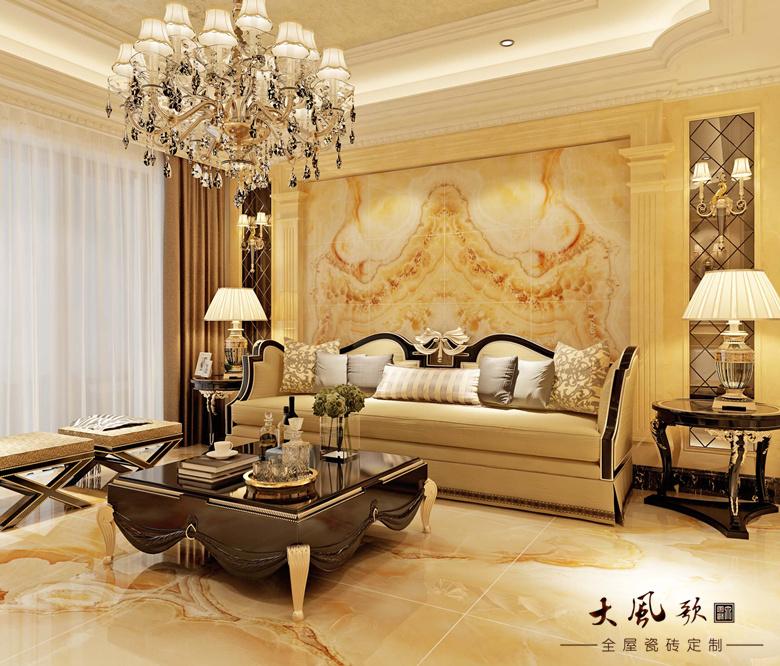 墙地一体瓷砖定制客厅电视背景墙-皇冠贵族