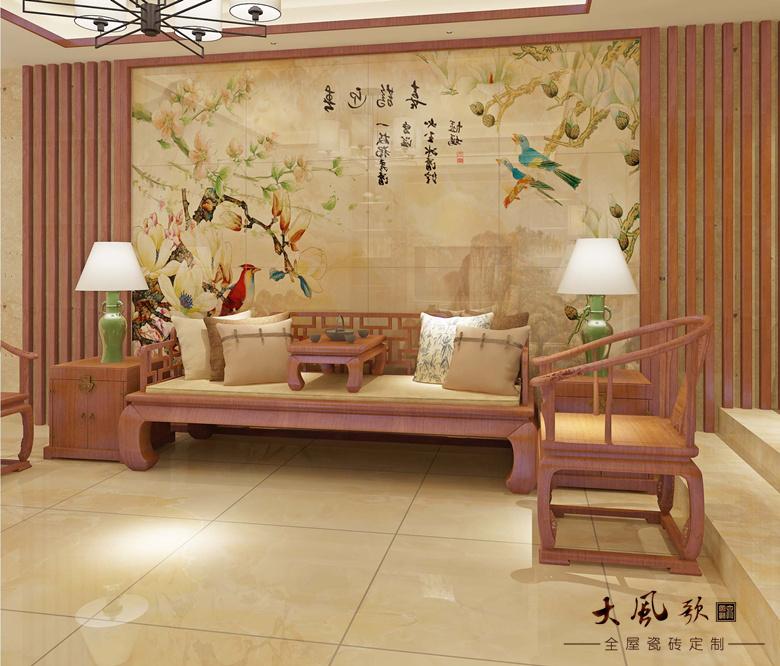 墙地一体瓷砖定制客厅-喜鹊迎春